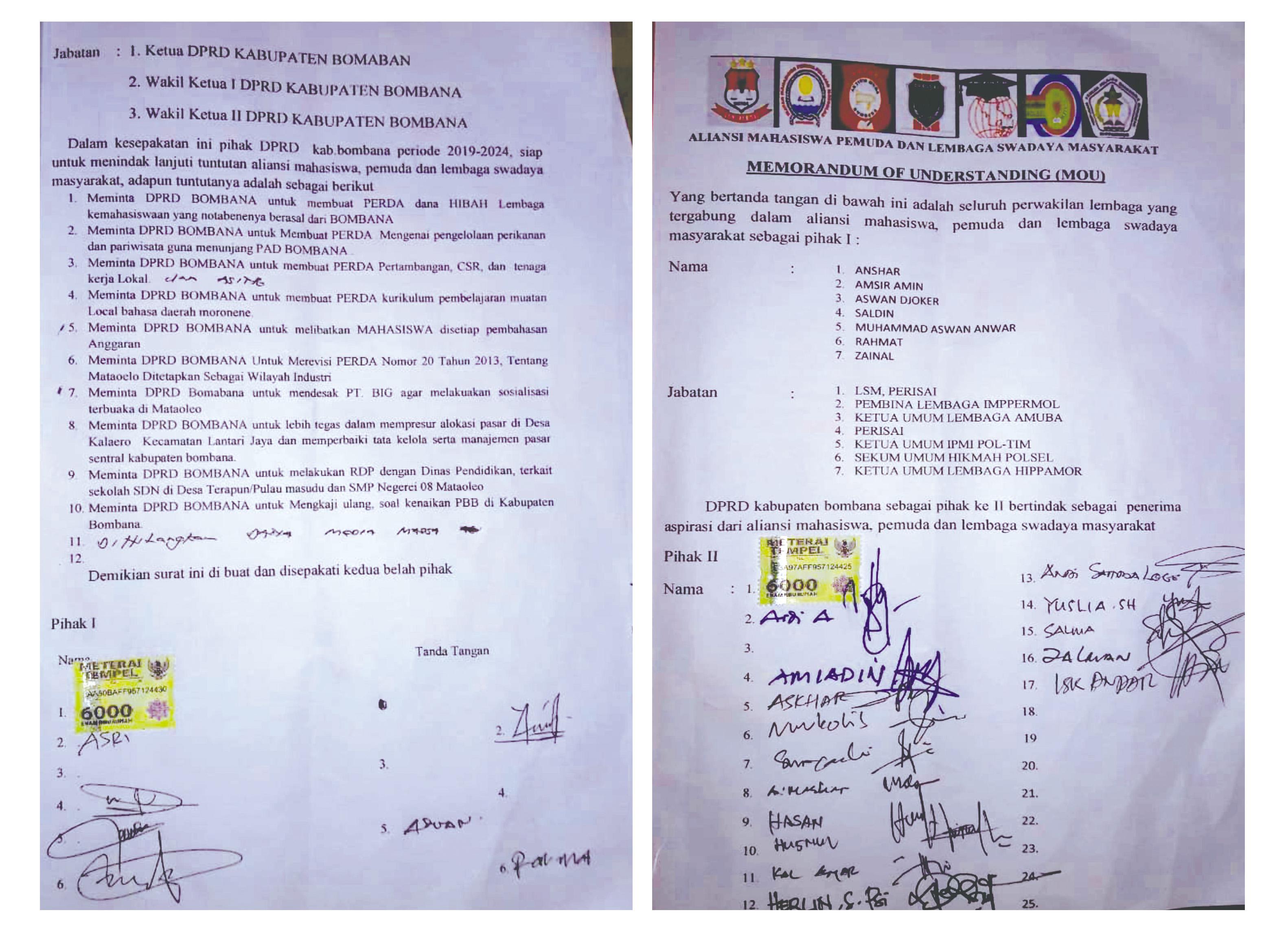 MOU kesepakatan antara Peserta Aksi dan Anggota DPRD Baru